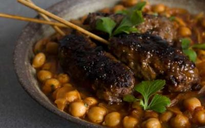 Beef Keftas with Spicy Chickpeas