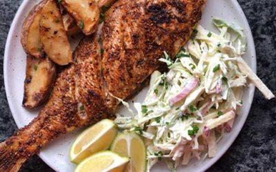 Cajun Spiced Fish with Jazz Apple Slaw
