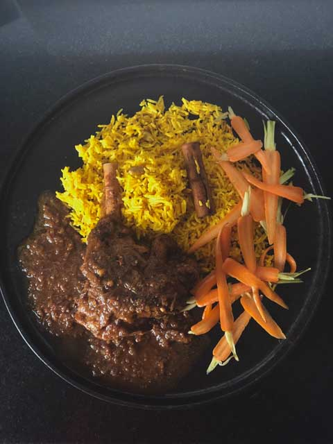 Curried Lamb with Fragrant Rice & Carrot Pickle