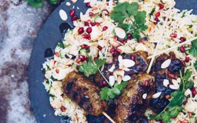 Bobotie Mince Kebabs with Pomegranate & Almond Rice salad