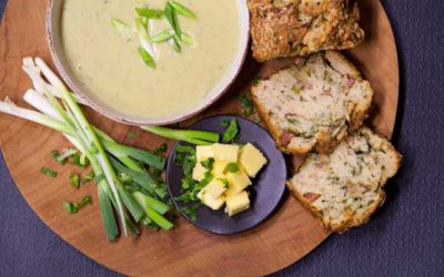 Courgette Soup with Bacon & Blue Cheese Bread