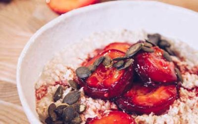 Creamy Oats with Honey Roasted Plums