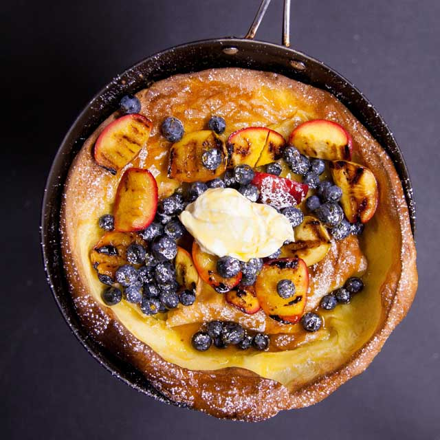 Dutch Pancake with Grilled Nectarines & Blueberries