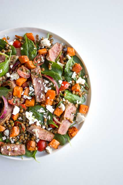 Seared Beef, Sweet Potato & Lentil Salad