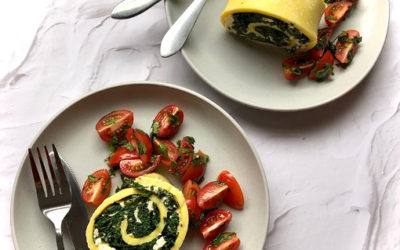 Spinach & Feta Egg Roulade with Herb Tomatoes