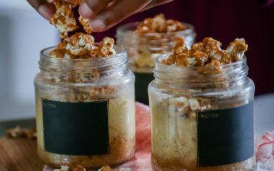 Caramel Popcorn Cheesecake Jars