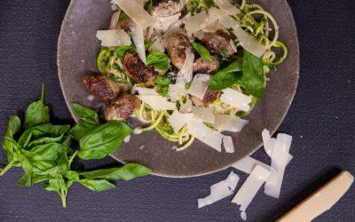 Garlic Courgette Spaghetti With Pork Meatballs