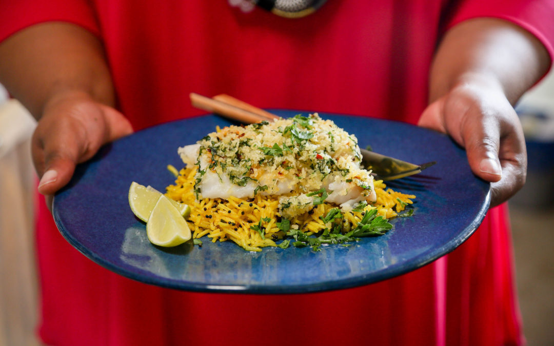 Herb Crusted Fish with Rice Pilaf