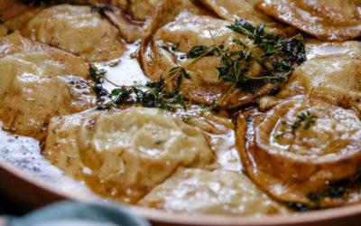 Homemade Ravioli Filled with Creamy Mushroom