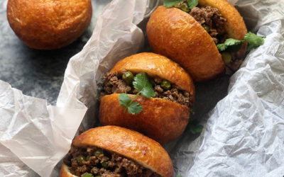 Amagwinya [Vetkoek] with Spiced Boerewors Mince