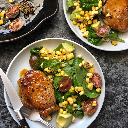Orange & Honey Glazed Pork Steaks with Corn Salad