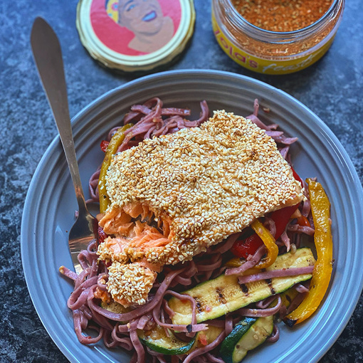 Zola's Feasts Sesame Crusted Trout with Noodle Salad