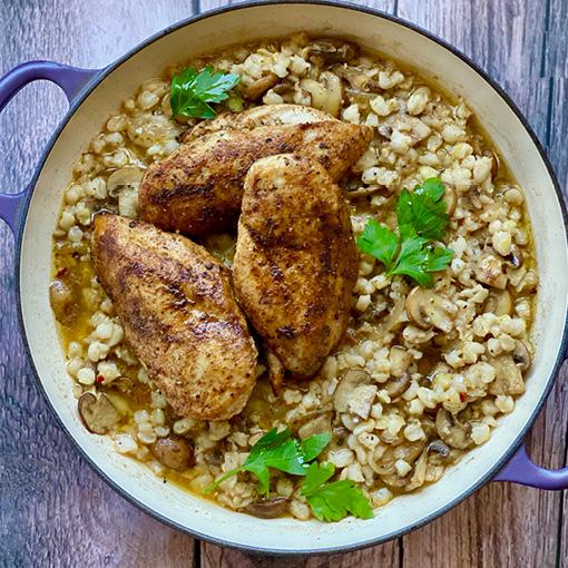 Mushroom & Garlic Samp with Spiced Chicken