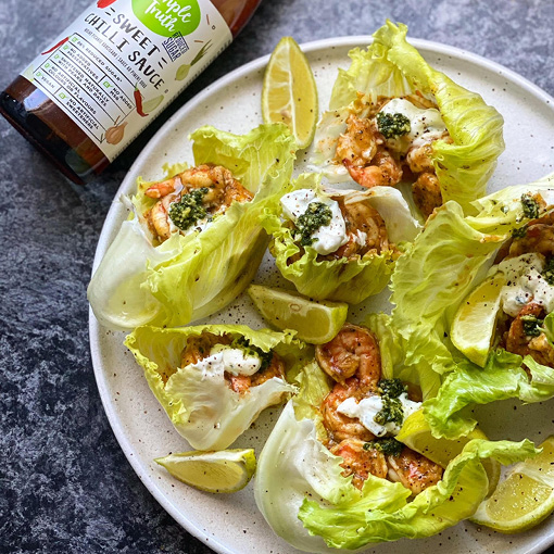 Sweet Chilli Pesto Prawn Lettuce Cups