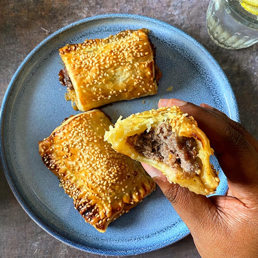 Boerewors, Cheese & Caramelized Onion Sausage Rolls