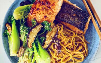 Salmon, Noodles & Stir Fried Bok Choy
